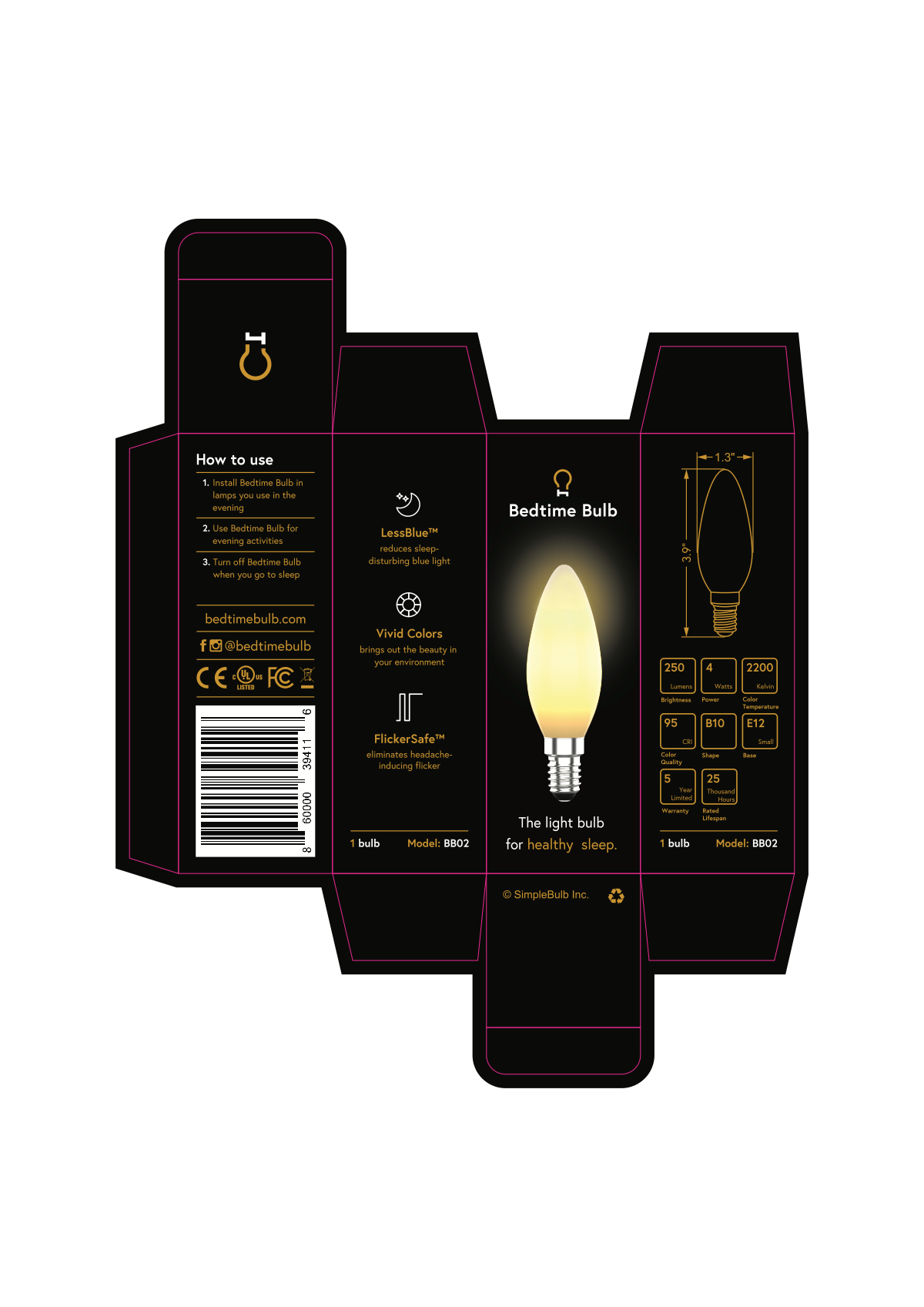 Package design for a healthy light bulb - product variation