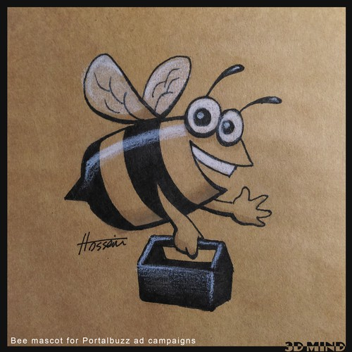 Create a bee mascot for Portalbuzz ad campaigns