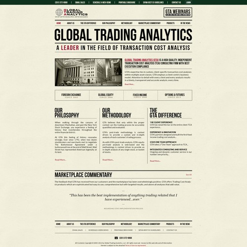 Web page design for 2040 MediaGlobal Trading Analytics