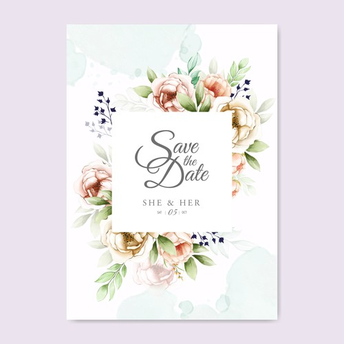 beautiful floral wreath wedding card template