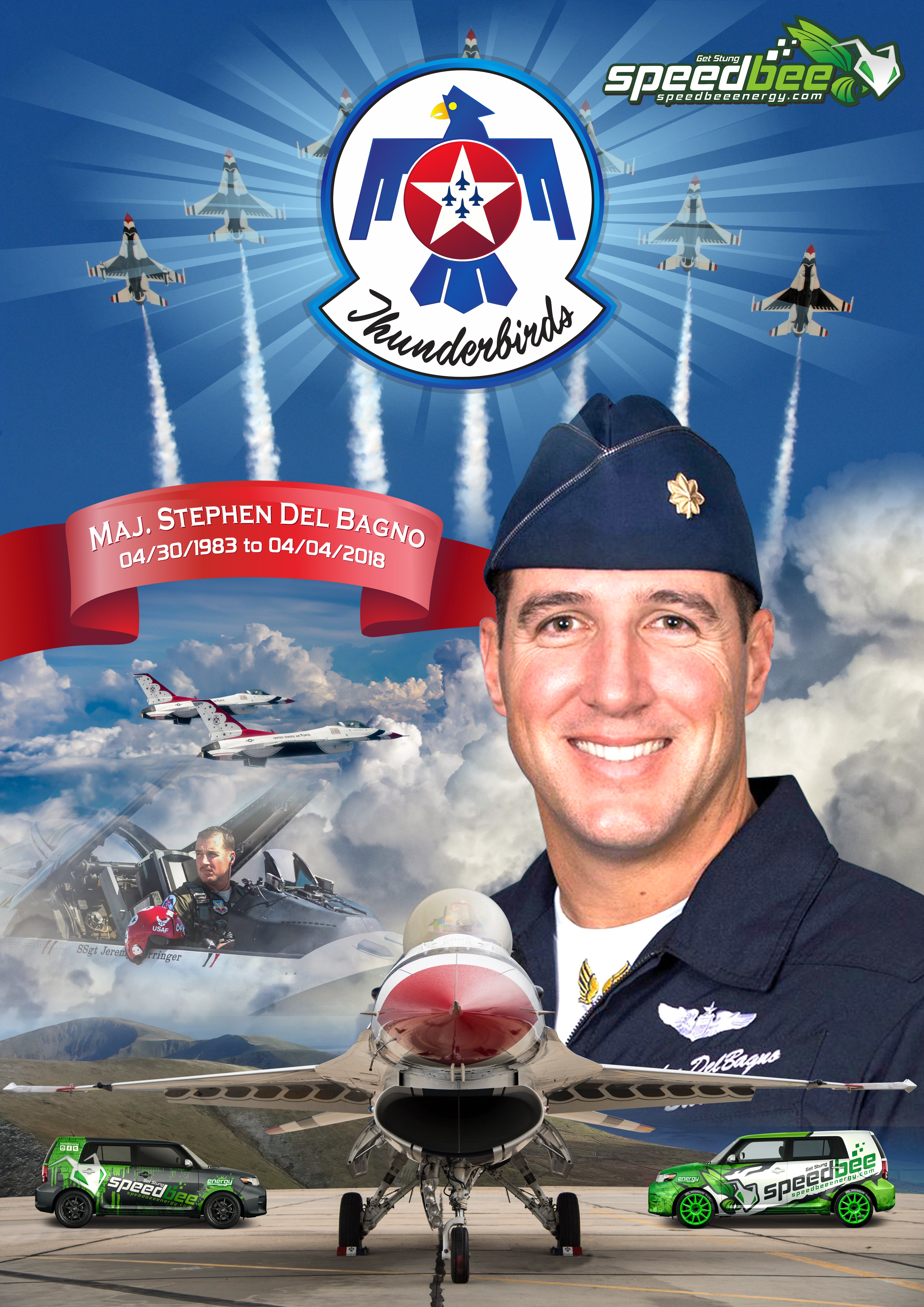 Memorial Photo to incorporate photo of the person, speedbee logos, and airforce thunderbirds logos