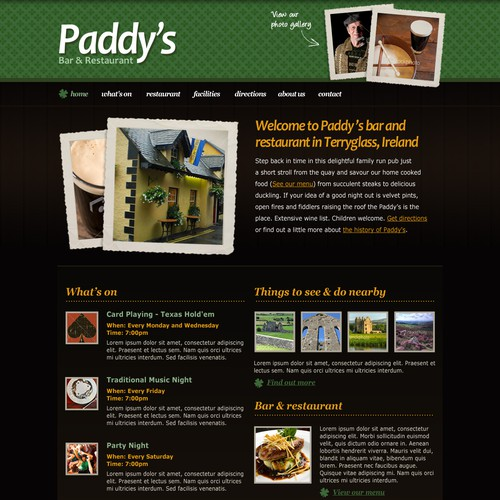 Homepage Design for an Irish Pub