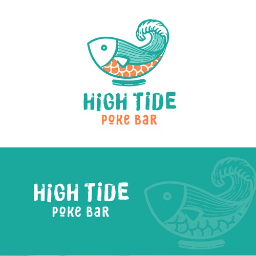 A fun + bold logo for a poke restaurant