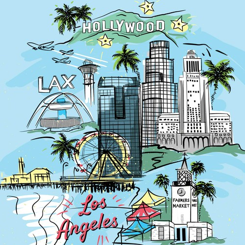 Los Angeles theme illustration for luggage use