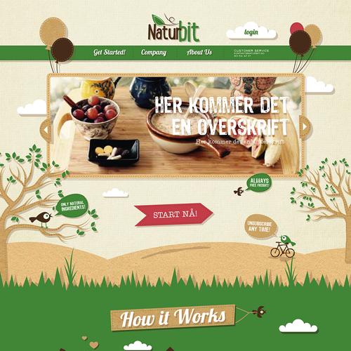 Playful illustrative website design for Naturbit