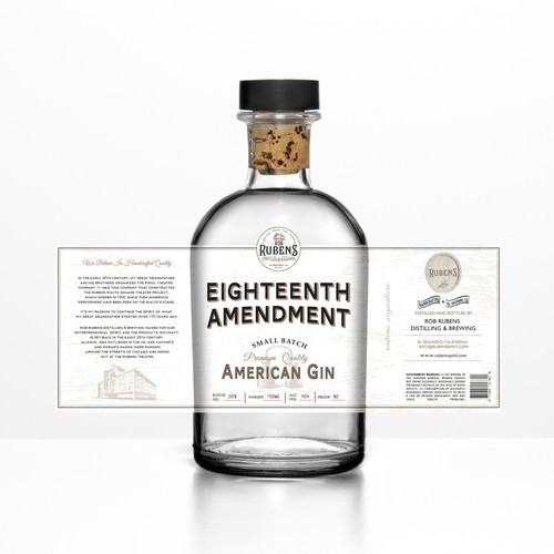 Label for new distillery out of LA county, US