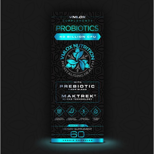 Probiotics Box Label Design for VMLOX Nutrition