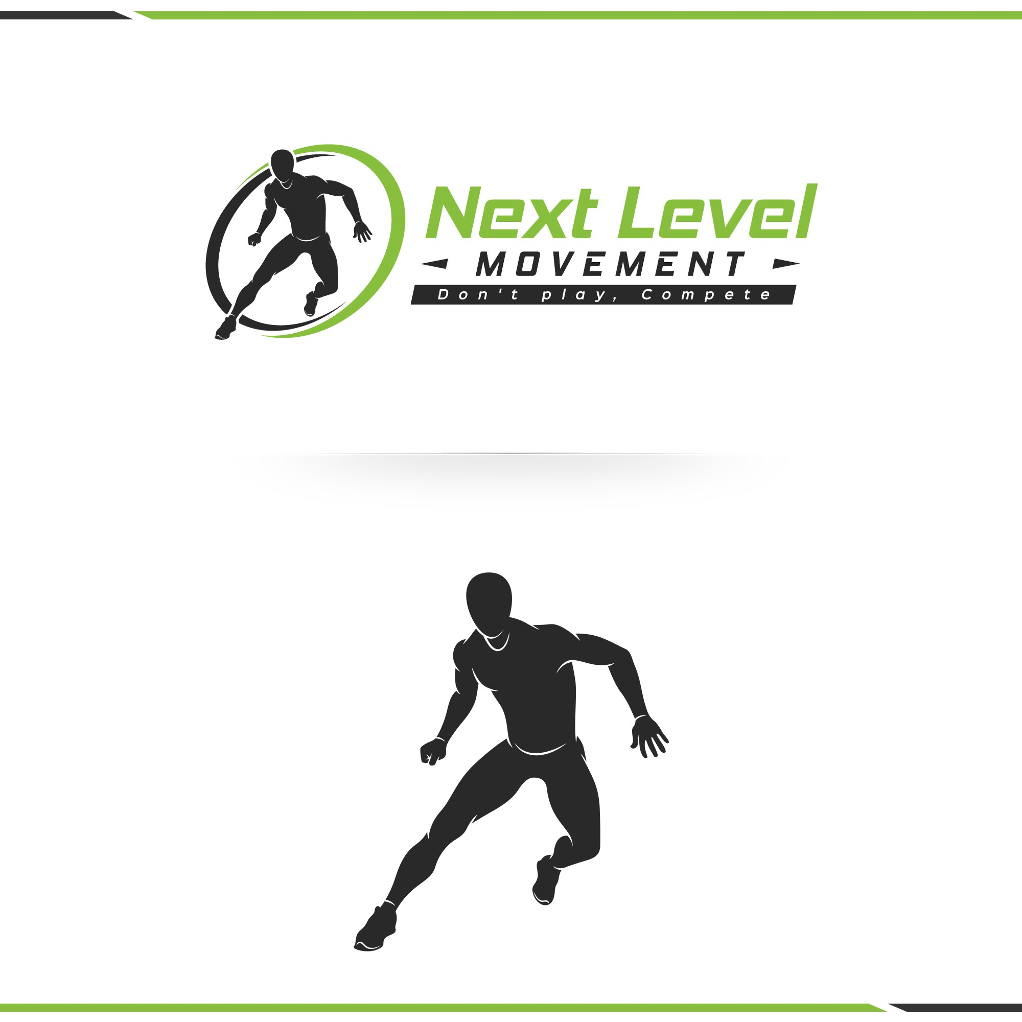 Create an athletic movement symbol, an athlete moving laterally.