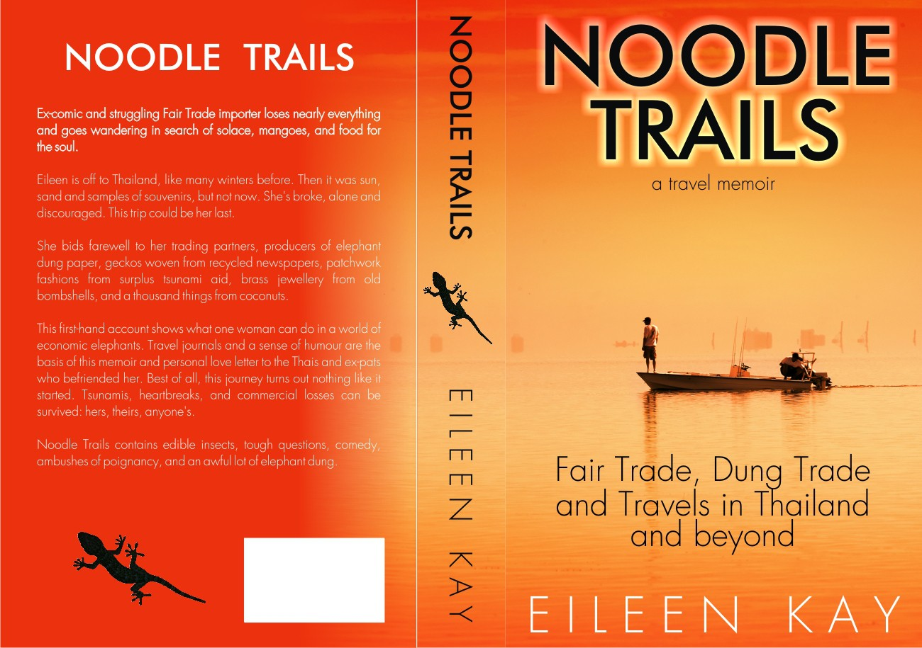 Create a book cover for a smart, funny travel book about an ex-comic wandering around Thailand.