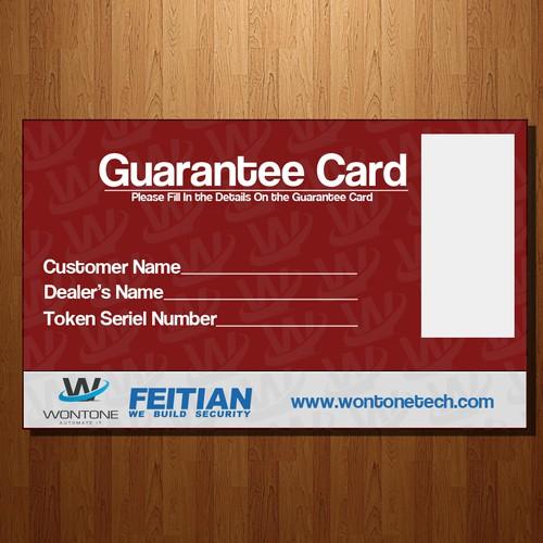 Key chain and guarantee card design