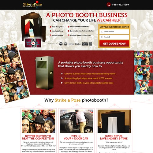 Landing Page redesign for Strike a Pose Photo Booths!