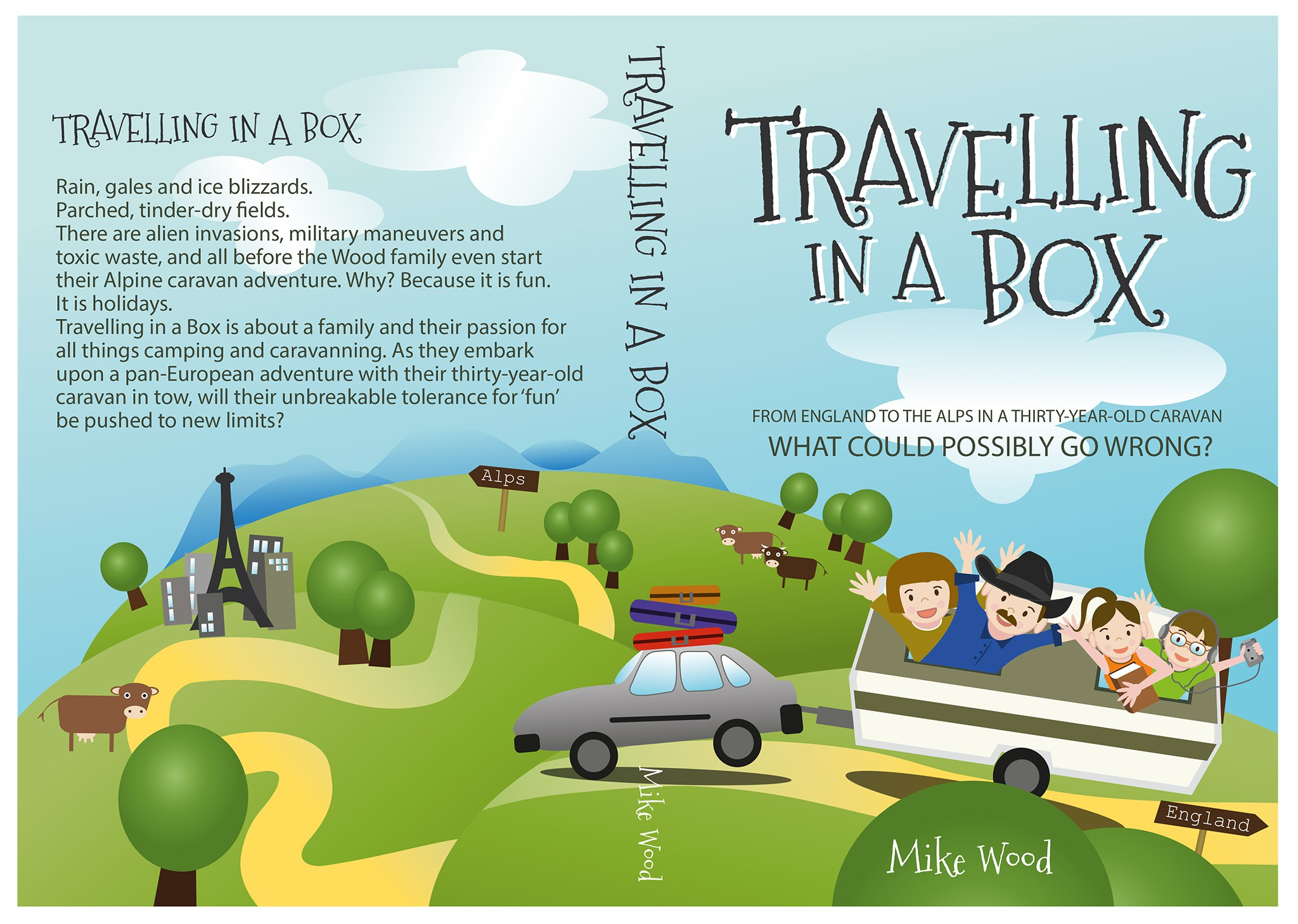 Create a cover for humorous travel book, 'Travelling in a Box'