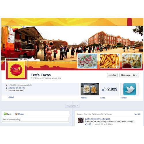 Facebook Landing Page --- Tex's Tacos - the original Nueva Texicana food truck (Voted #1 Food Truck in Atlanta)