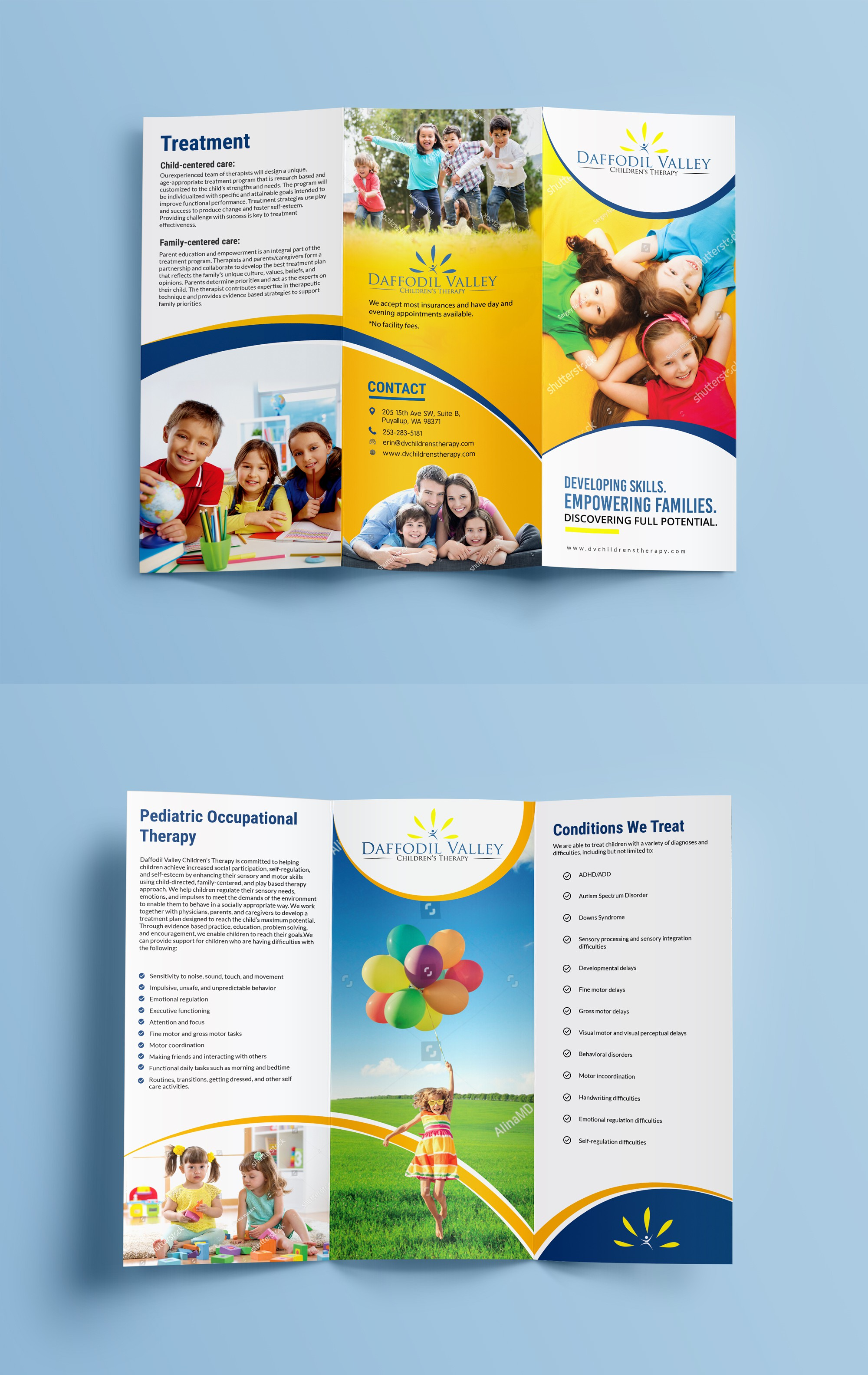 Create an informative, fun brochure for a pediatric occupational therapy clinic