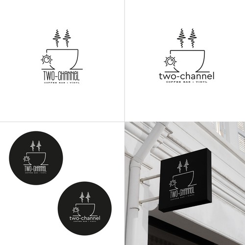 coffee bar & vinyl shop logo