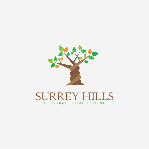 Create a fresh, clean, vibrant, professional logo for beautiful Surrey Hills Neighbourhood Centre