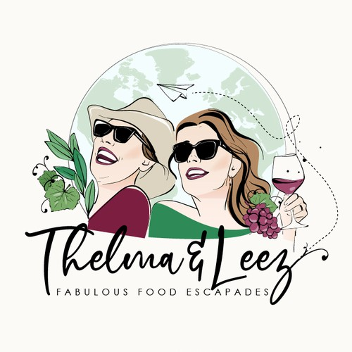 "Fun logo for two sisters inspired from the movie ""thelma and louise"""