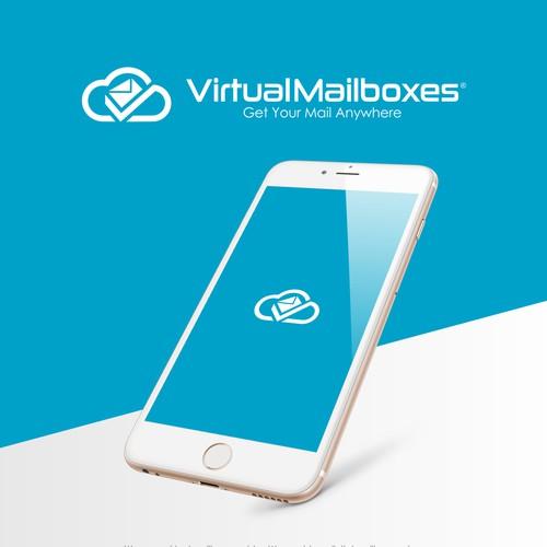 flat modern smart logo for digital mailbox service