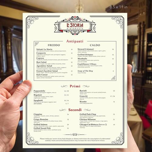 La Storia Restaurant Menu