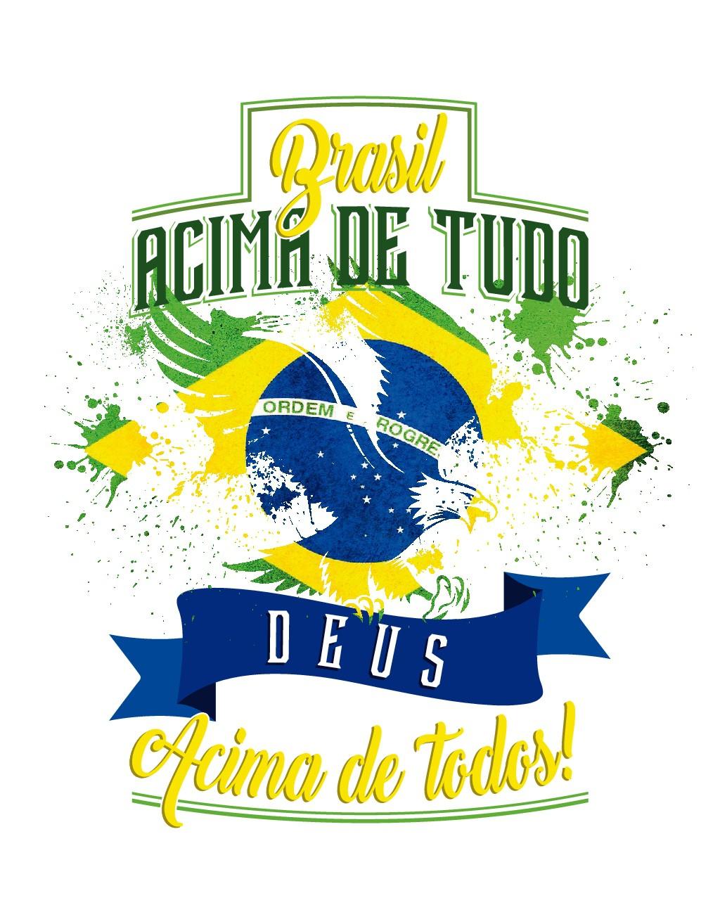 Necessito de uma ilustração com a bandeira do brasil para Camisas. A frase deve ser separada da ilustração.