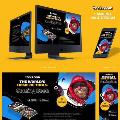 Bold Coming Soon Landing Page Design For Tools Company