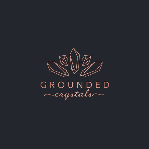 Modern yet Whimsical logo for Grounded Crystals