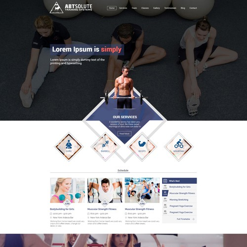 Fitness Training Company Website Home Page