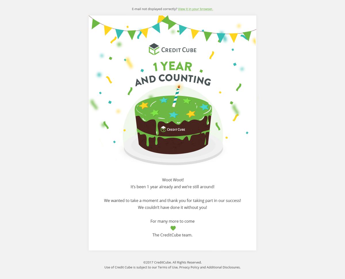 CreditCube Birthday