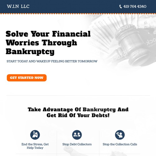 Landing page for bankruptcy solution