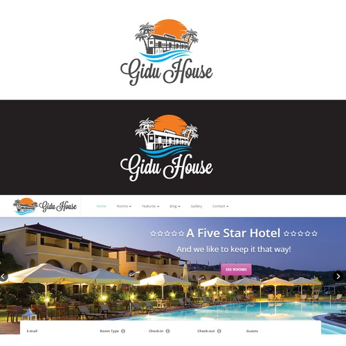 logo for five stars hotel gidu house