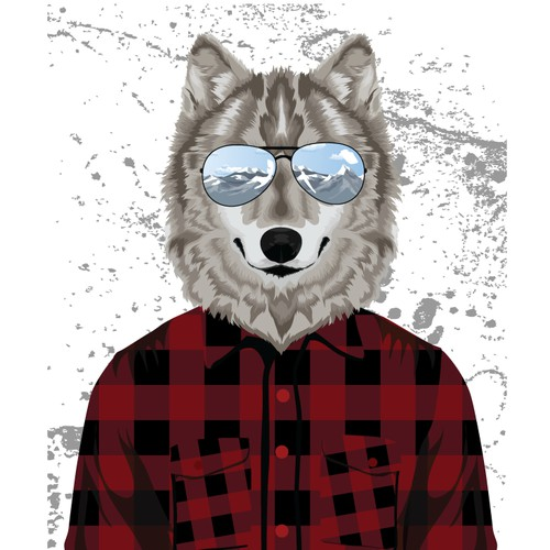 Wolf Illustration for Action Sports Clientele T-Shirt