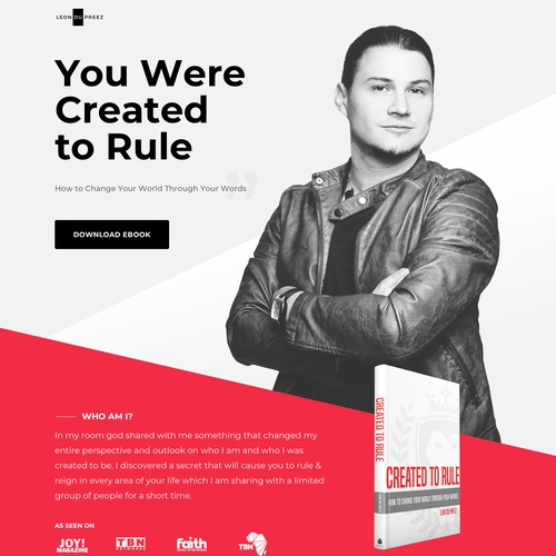 Landing page for a book writer