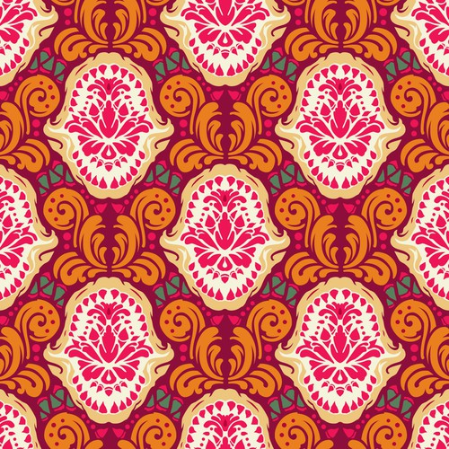 Damask Shark Jaws Seamless Pattern