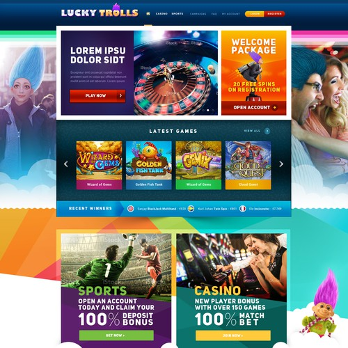New Webdesign for Online Casino games
