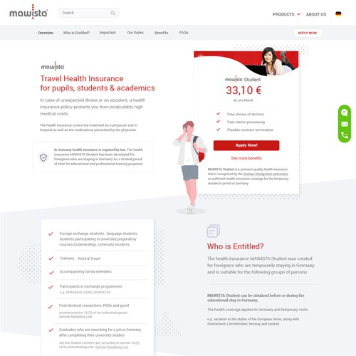 Website design for travel insurance company