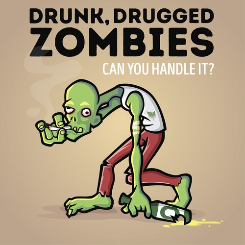 Drunk zombie illustration design.