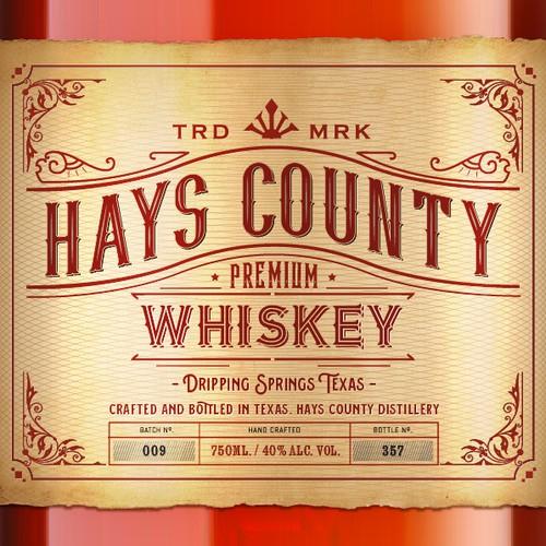 Hays County Whiskey Bottle/label design