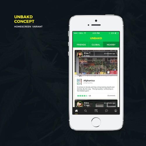 "Homescreen concept for mobile app ""Unbakd"""