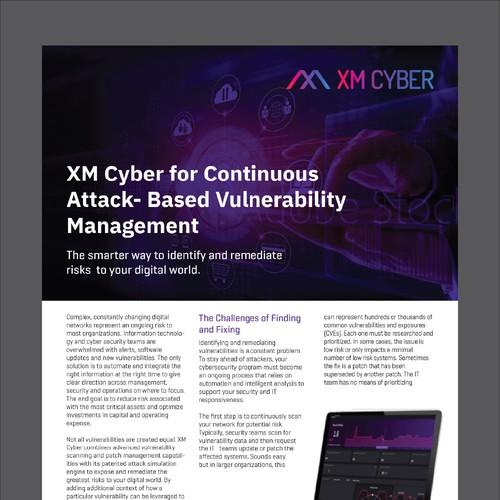 XM Cyber Data sheet for PDF designed in Illustrator.