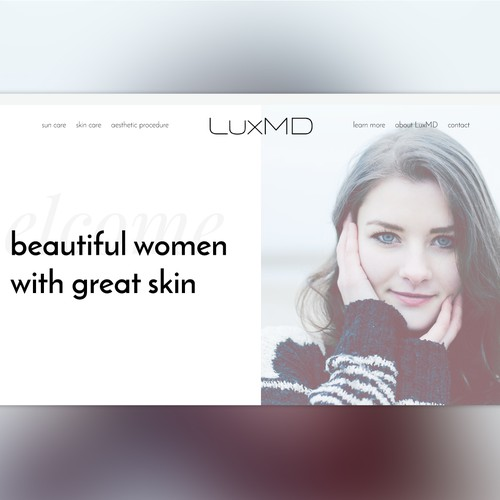 Homepage concept for skin care company