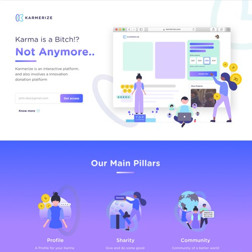 Landing page for a do good app.