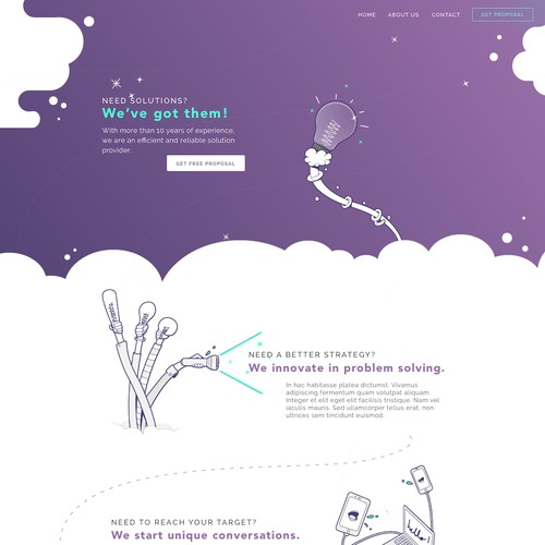Quirky landing page