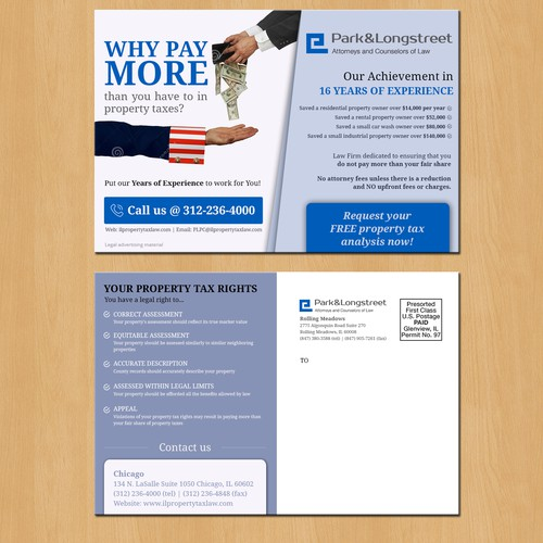 Create a professional postcard to be mailed to homeowners to reduce property taxes.