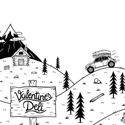 Website illustrations for deli sandwiches store.
