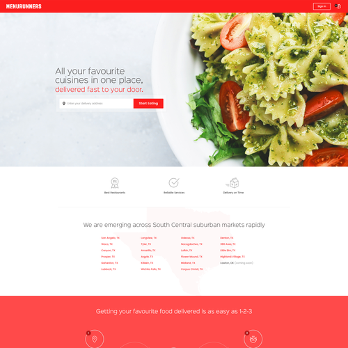 Homepage design for food delivery business
