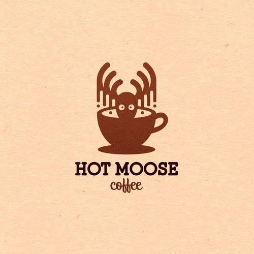Playful logo for Hot Moose Coffee