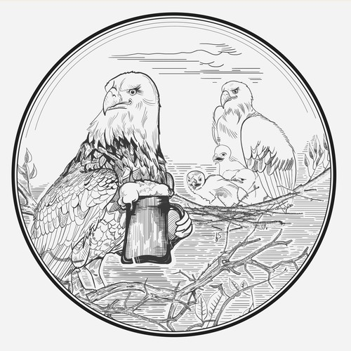 Eagle family drawing for beer lable