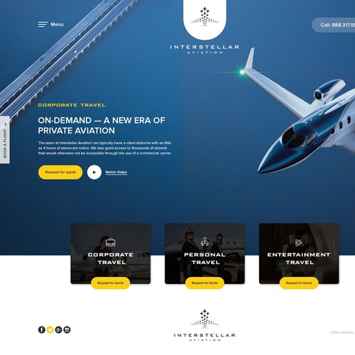 Home Page design for Interstellar Aviation