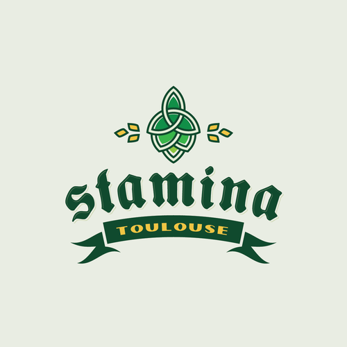 Modern-vintage logo for STAMINA Brewing Co.