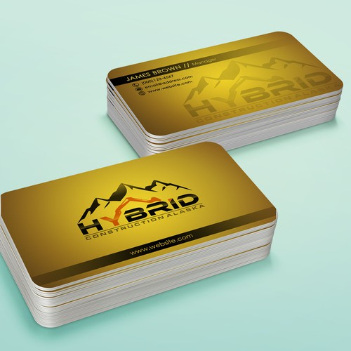 Create a unique, innovative, and bold business card for Hybrid Construction